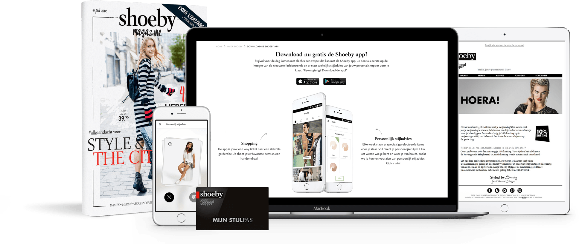 Shoeby's omnichannel loyalty program example of website, emails, mobile app & print