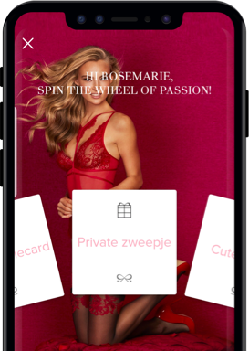 Hunkemöller Kundenbindungs-App zeigt Wheel of Passion-Spiel