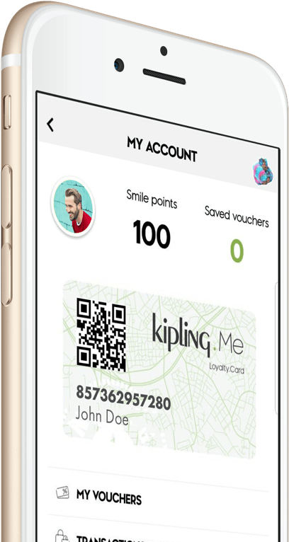 Kipling.Me loyaliteitsprogramma op mobiel
