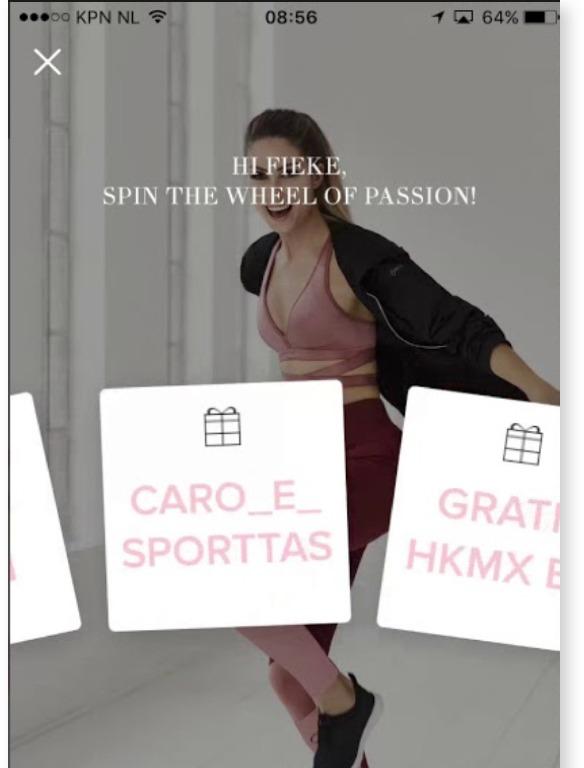 Hunkemöller customer loyalty app showing Wheel of Passion game