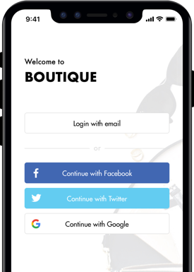 Loyalty program app showing single sign-on social media options