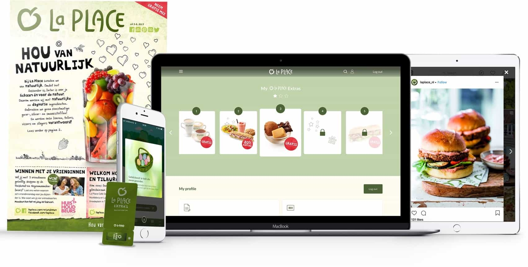 La Place Extra's loyalty program on laptop, tablet and phone