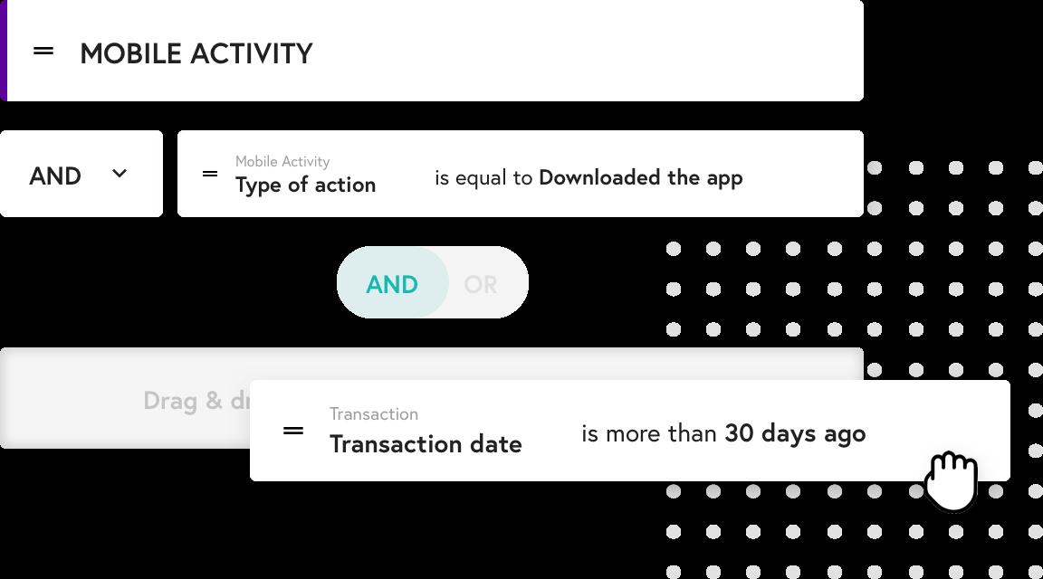 Een segment van gebruikers van mobiele apps maken zonder recente transacties voor een klantenbindingcampagne