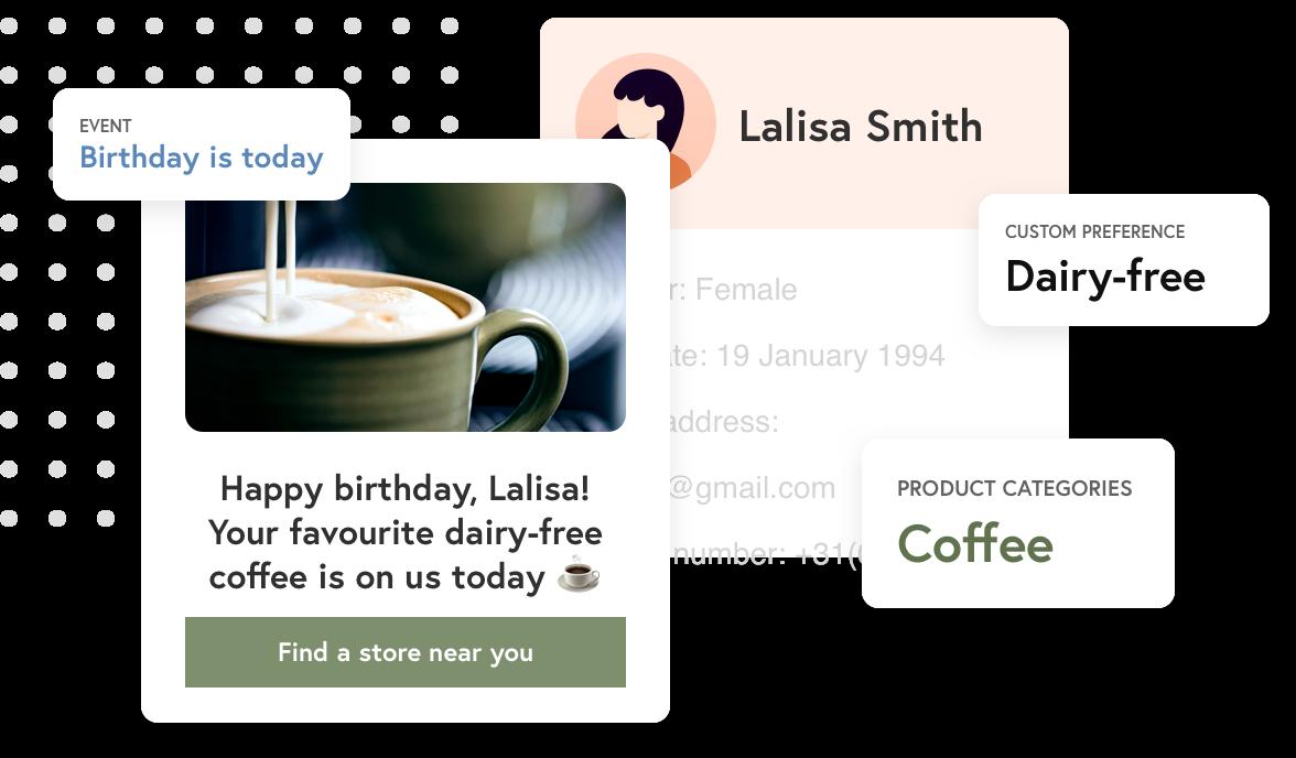 Gepersonaliseerde verjaardagscadeau voor een zuivelvrije koffie
