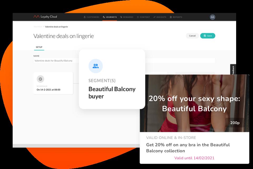 Personalisierung einer Customer Journey mithilfe eines Segments für Dessous-Kunden