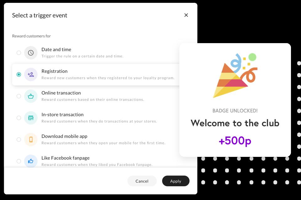 Eine Auswahl von Online- und In-Store-Ereignissen löst die Ausgabe von Punkten für Kunden aus